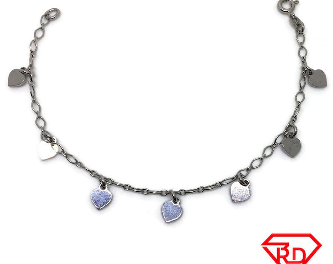 Heart charm Bracelet 8 inch Marquis chain White gold Layer