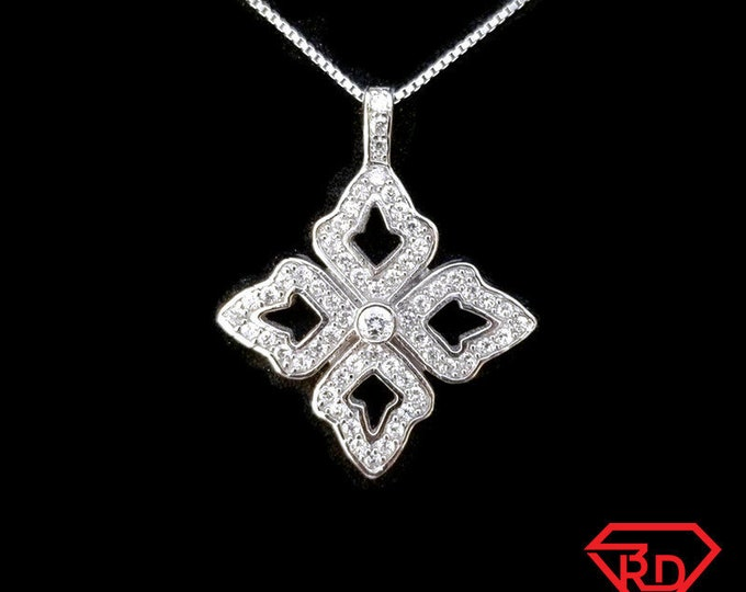 New 14k White Gold On 925 Sterling Silver Shiny Four Leaf Flower CZ Stones Pendant Free Chain