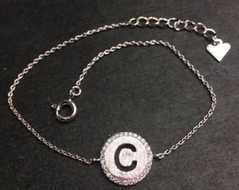 """14k layer on solid .925 silver letter """"c"""" cz handset cable link bracelet : 7-8"""""""