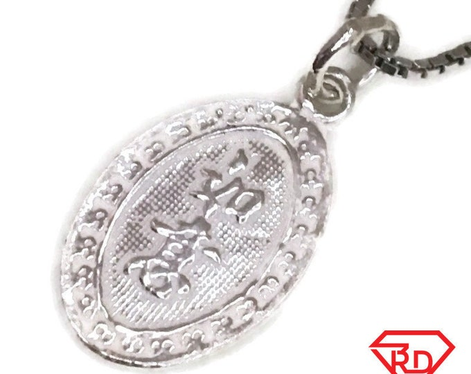 New Handcraft Anti-Tarnish 925 Silver Pendant small oval two sided fortune and luck and free chain