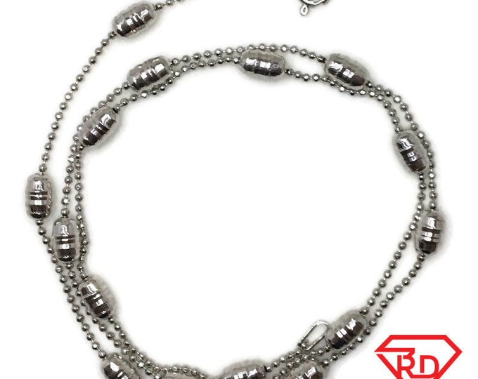 Brand New White Gold on 925 Sterling Silver Necklace 18 inch Small bead chain with Large Long Beads with Springring Clasp ( 3 . 9 mm )