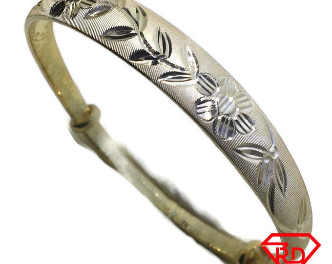 Diamond cut Flowery slip in Bangle 999 Yellow Gold Layer
