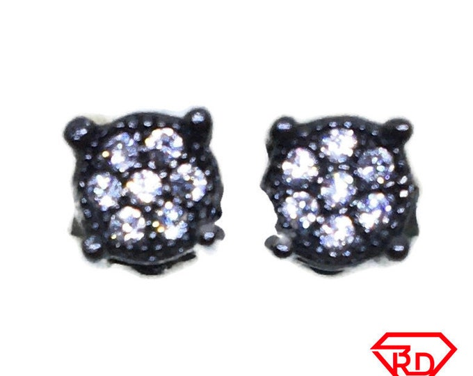 Small 7 Round CZ stud Earrings Gothic Black gold layer