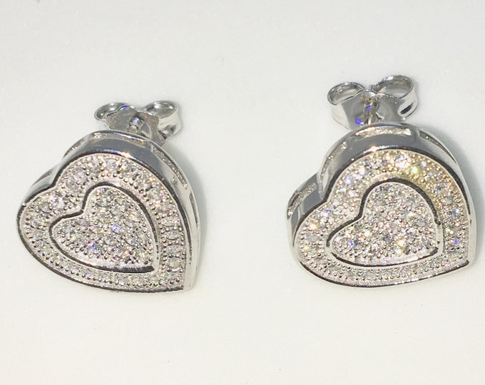 New White Gold on 925 Solid Sterling Silver Two Layer heart shape with tiny Round white CZ Studs Earrings ( 13 . 2 mm )