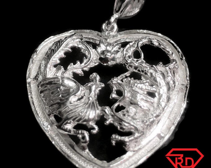New Large Handcrafted 925 Silver Chinese Double Happiness for Wedding Dragon & Phoenix Heart Charm Pendant