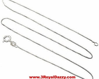 Italian Solid Anti Tarnish .925 sterling silver box link chain - 1.25 mm 18 ""