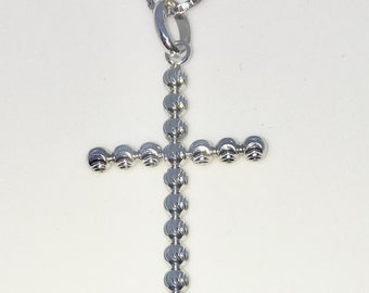 New White Gold on 925 Sterling Silver Pendant Cross with Sphere design with 16 inch Silver Chain ( 20 . 7 mm )