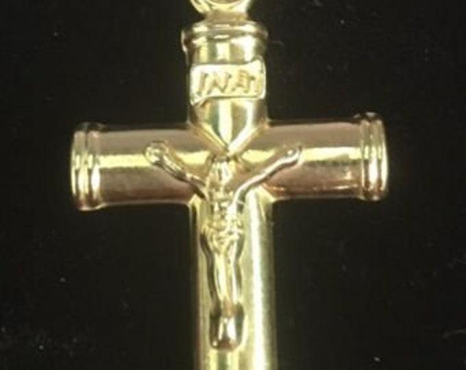 Jesus christ crucifix cross 14k gold layer on 925 ss flat round pendant charm