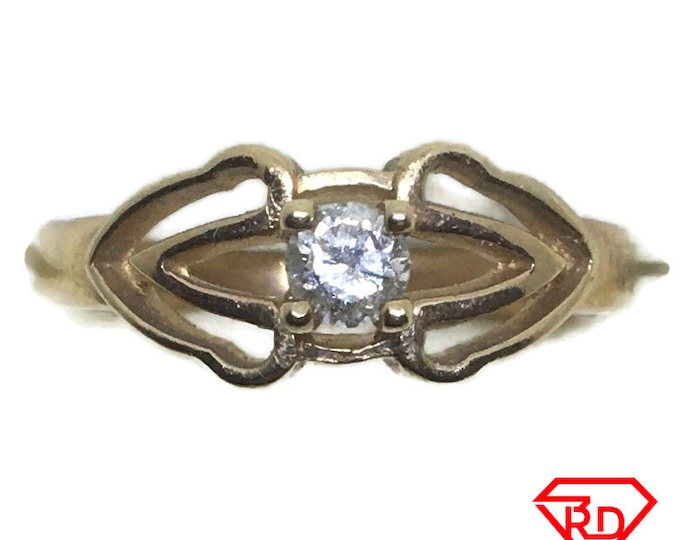 Four prong Diamond ring 14k yellow gold S5