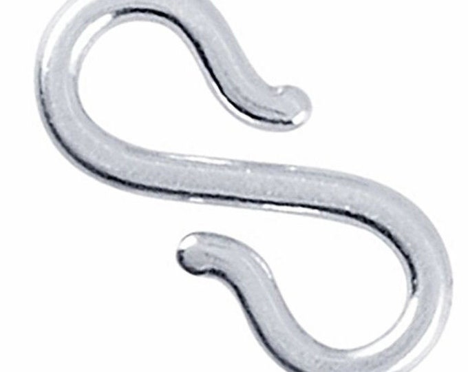 Xlarge handmade solid sterling silver s-hook clasp component finding repair 15mm