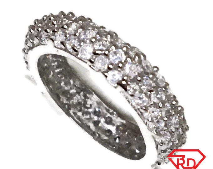 Brand New White Gold on 925 Sterling Silver Eternal Ring Band Bulgy shape and round white CZ rows ( size 7 )