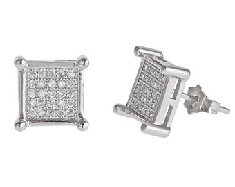 Square plus 4 Sterling corners Cubic Zirconia 18k white gold on Sterling Silver Stud