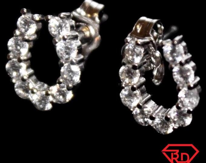 14k White Gold on 925 silver horseshoe earrings