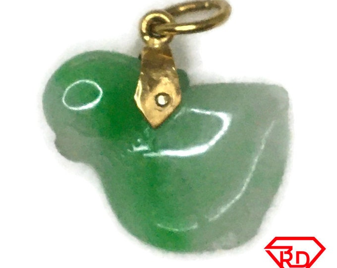 Small Chick Asian Jade on 14k Solid Yellow gold Pendant Charm
