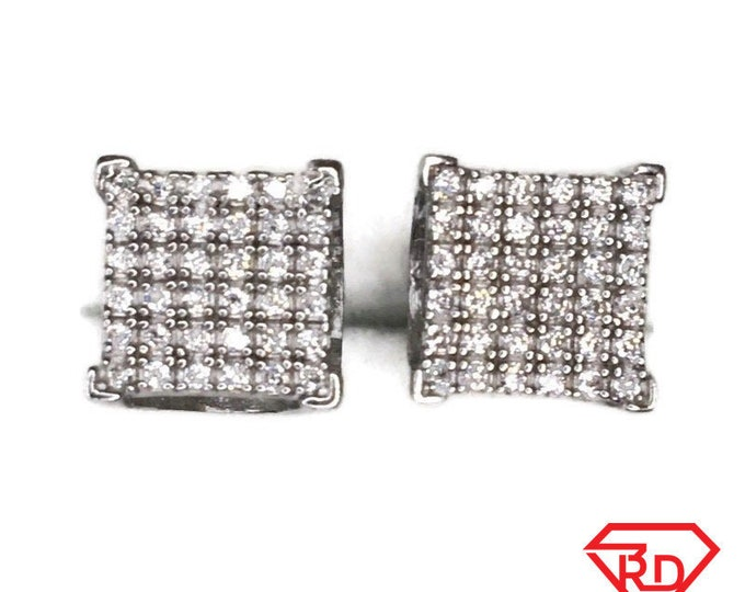 Brand New white gold on 925 Silver Studs Earrings small Square and zigzag with white round CZ ( 9 . 2 mm )