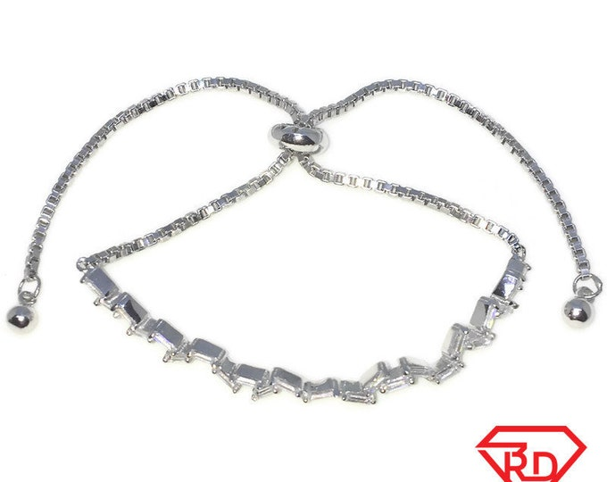 Brand New White Gold on 925 Solid Sterling Silver Rows of white baguette CZ Adjustable Pulley box chain Bracelet