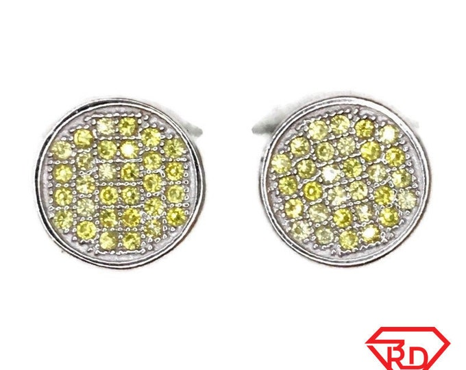 Brand New white gold on 925 Silver Studs Earrings Circle with Yellow round CZ ( 10 . 2 mm )