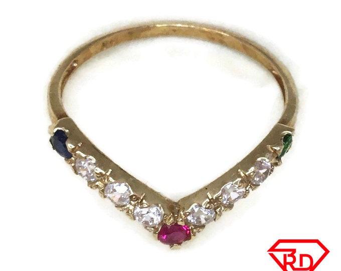Single V shape CZ ring band 14K Real Yellow gold S8
