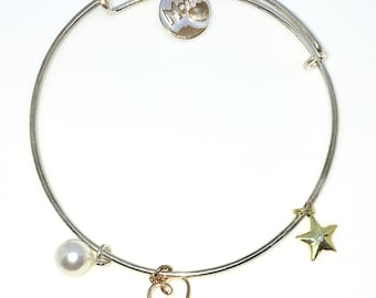 New White Gold Layered on 925 Solid Sterling Silver Bangle Bracelets stars and balls Expandable slip in