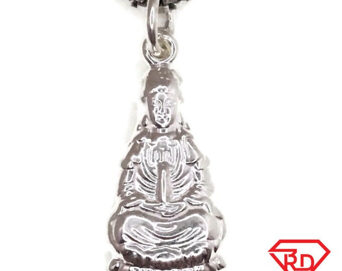 New Handcraft Anti-Tarnish 925 Silver Pendant tiny Quan yin and free chain
