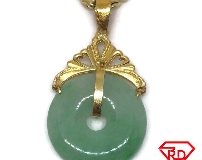 Medium Halo green Jade Pendant Charm 24K Yellow gold Plated
