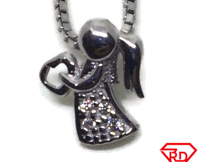 Angel with CZ Tiny charm pendant White gold on Silver