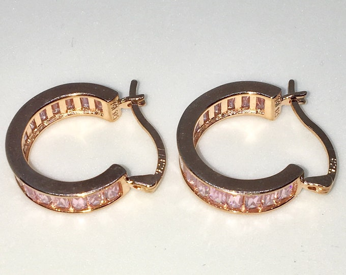 New 14k Pink Gold on 925 Sterling Silver White Emerald CZ Medium Wide Hoop Earrings ( 4 . 8 mm )