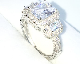 New Handcraft White Gold Plated on Sterling Silver ring band with rectangular shape and white emerald CZ and small CZ