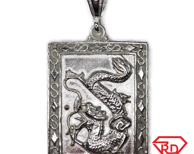 dragon and phoenix pendant extra large smooth solid silver