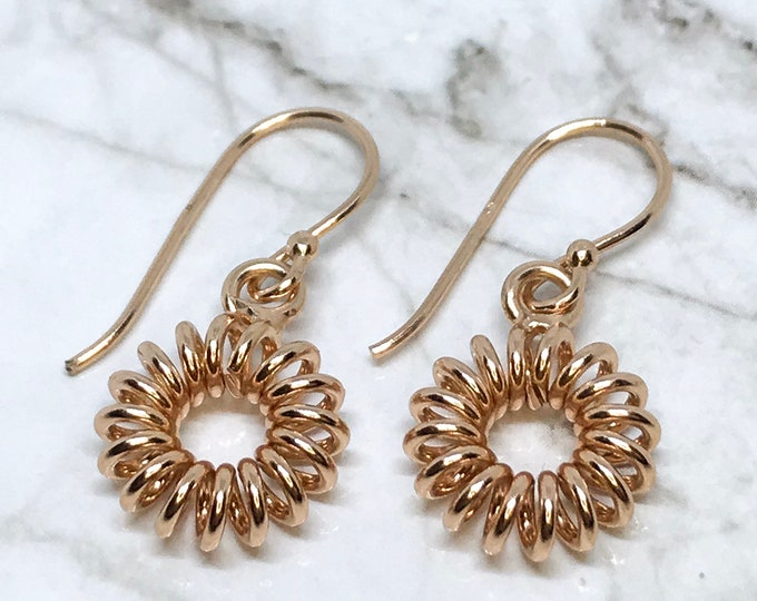 NEW 14K Gold Layered on Sterling Silver Spiraling Circle Dangling Drop Earrings