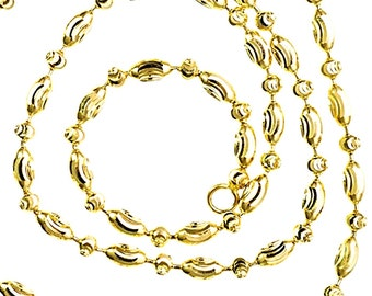 14K Yellow Gold layered on 925 Silver diamond cut Moon Oval Chain / Necklace - 2mm 20""