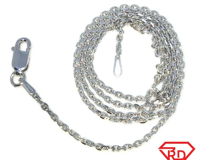 New White Gold Layered 925 Solid Sterling Silver 18 inch plain diamond cut cable Chain Necklace with Lobsterclaw clasp