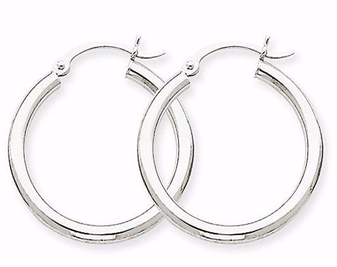 Plain round hoop earring 14kt gold layer on silver notched w/ post back-2mm 20mm