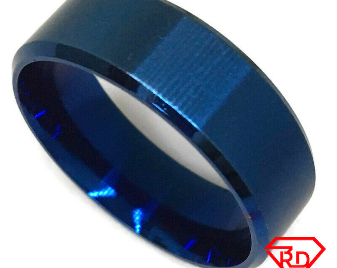 Blue Ring smooth blue gold on Steel (size 12)
