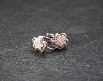 New 14k White Gold on 925 Sterling Silver Flower Power Boho Earrings ( 1 0 . 9 mm )