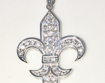 New White Gold on 925 Sterling Silver Pendant Fleur de lis with round white CZ ( 20 . 7 mm )