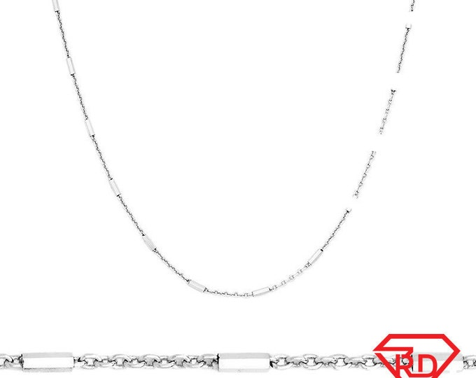 """14k White Gold / 925 Sterling Silver Bar & Cable Italian Necklace Chain- 1.3 mm 18 """""""