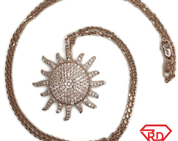 Rose Gold on Silver necklace Sun Star with round white CZ