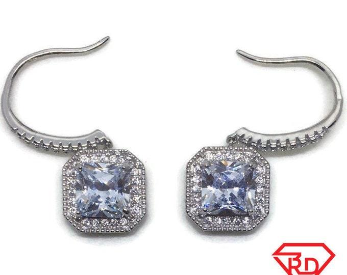 White gold on Silver dangle drop Hook Earrings white Princess & round CZ