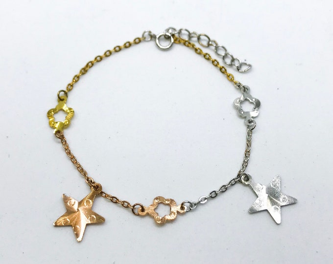 NEW 14k Rose, White And Yellow Gold Layer On 925 Sterling Silver Star Link Bracelet 0.8 mm -8 6.5""