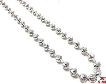 18k white gold layered over .925 sterling silver moon cut chain 5 mm 30 ""
