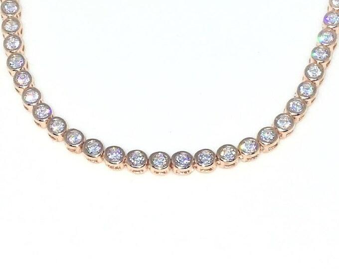 New sterling silver 7 inch bezel medium round white cz tennis bracelet with box clasp