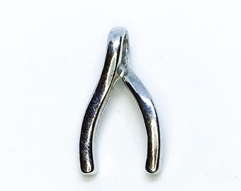 NEW 14K White Gold Layered on .925 Sterling Silver Wishbone Pendant