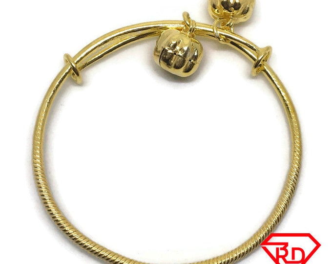 Double Bell charm Twisted slip in Baby Bangle .999 Yellow Gold Layer