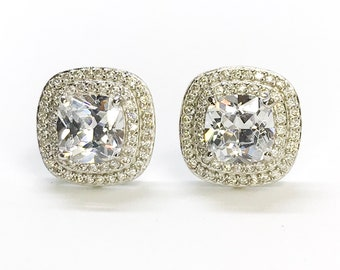 NEW .925 Sterling Silver Square with Stones- stud Earrings