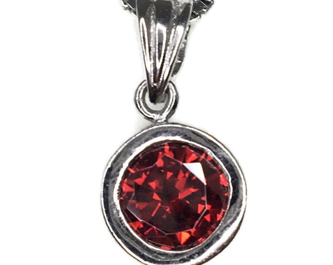 Garnet January Birthstone Pendant Cubic Zirconia and white gold