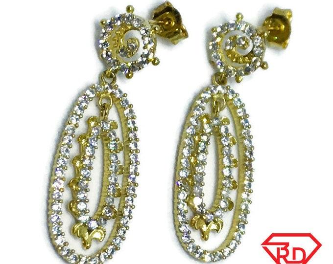 18K Yellow Gold on Sterling Silver Dangling Oval Earrings