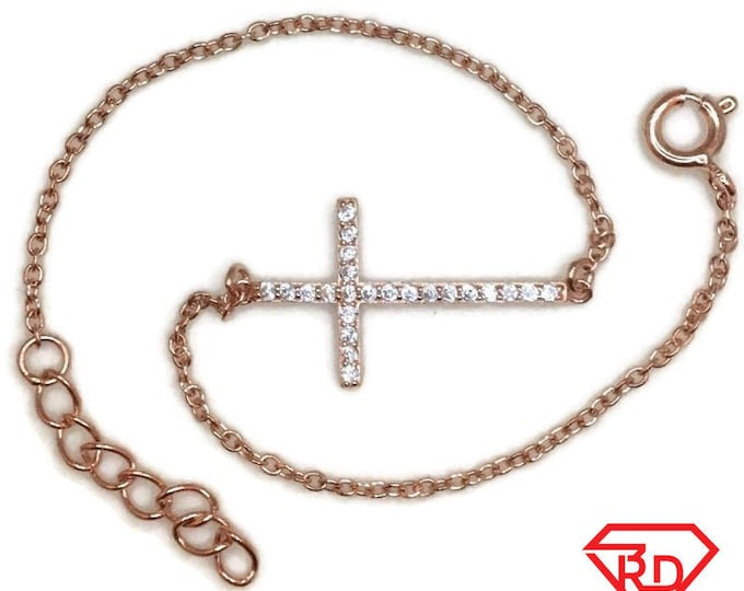 Rose Gold on Silver Bracelet Cross with round white CZ