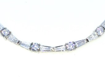 New White Gold Layered 925 Solid Sterling Silver 7 inch Round and Baguette White CZ Tennis Bracelet with Box Clasp