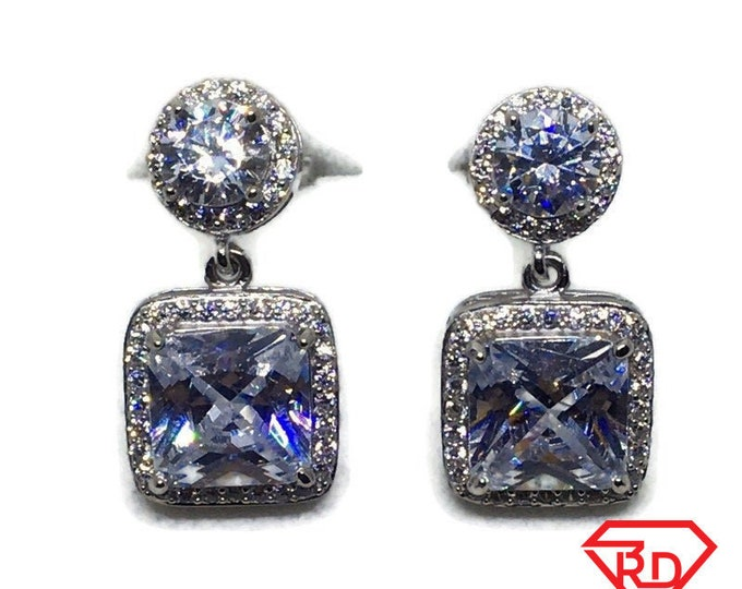 White gold on Silver dangle drop Earrings white Princess & round CZ